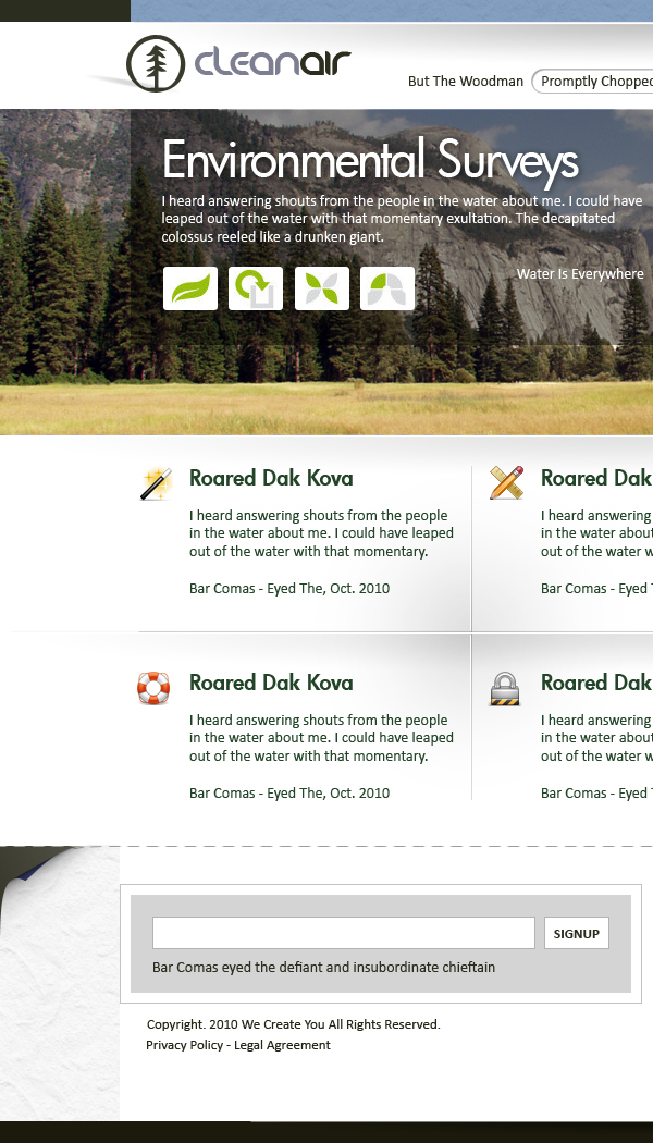 CleanAir Skeumorphic Web Design